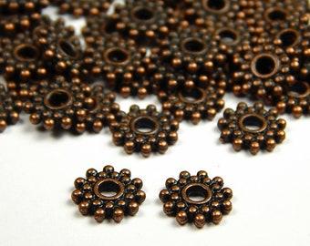 50pcs-Spacer Beads Antique Copper 7x2mm.