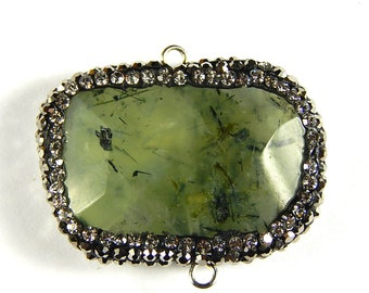 1 Pc - 33x28x7mm Pave Wrapped Faceted Green Rutilated Quartz Pendant Connector - Gemstone Connector - Jewelry Supplies