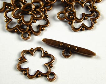 4 Sets - Tibetan Style Antique Copper Toggle Clasps - Findings - Clasps - Closures - Jewelry Supplies - Toggles