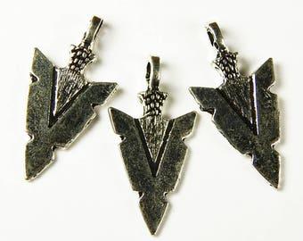 5x Arrowhead Pendants - Arrowhead - Charms - Silver - Southwestern - Jewelry Supplies - Craft Supplies - Jewelry Making