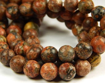 15 Inch Strand - 8mm Round Red Leopardskin Jasper Beads - Gemstone Beads - Jewelry Supplies
