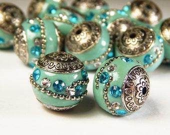 5 Pcs Handmade Kashmiri Beads - 18mm Round Beads - Indonesia Beads - Sky Blue - Spacer Beads - Jewelry Supplies