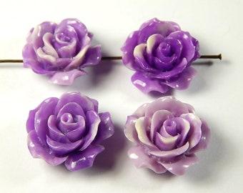 4 Pcs - 20mm Purple Carved Tridacna Shell Pendant Bead - Flower - Focal Beads - Pendants - Jewelry Supplies