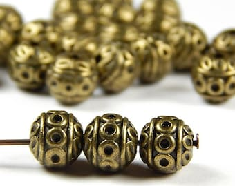 50-100+ 8mm Round Beads SILVER or GOLD CORRUGATED Spacers Plated Large Hole:3mm Lead Free Nickel Free Diy Jewelry Making Beading Supplies