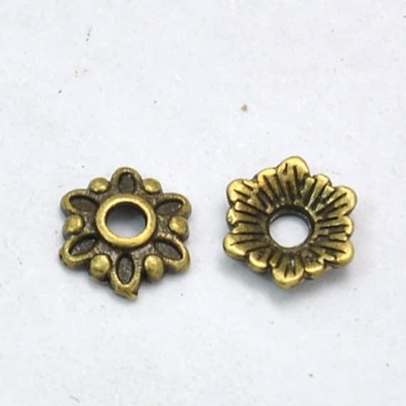 Free Ship 50Pcs Ancient Gold Bead Caps 9x6mm