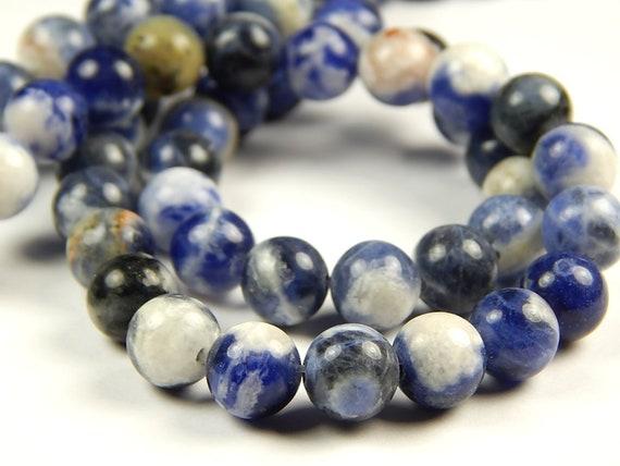 Matte Round Sodalite Beads 10mm Blue Stone 15 Inch Strand
