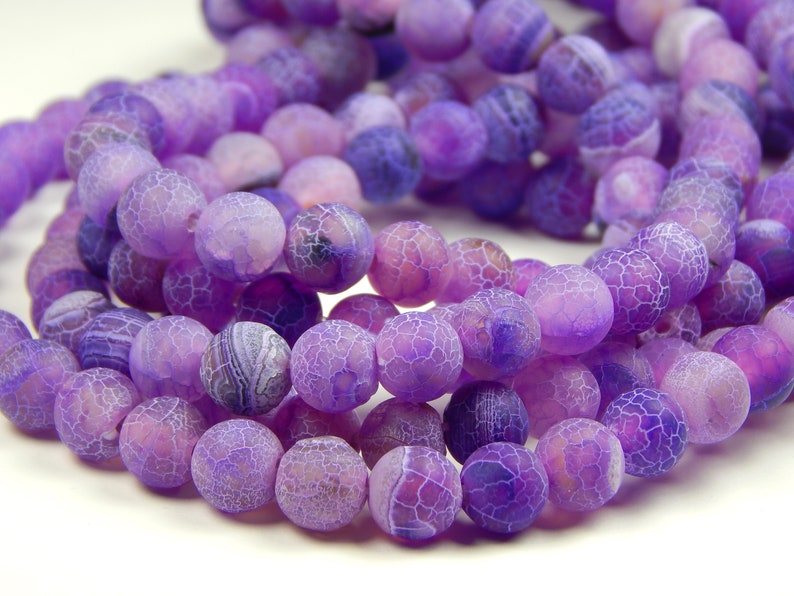 Plum Matte Gemstone Beads Jewelry Supplies 8mm Round Frosted Purple Dragon Veins Agate Beads 13.5 Inch Strand Mix Agate Beads