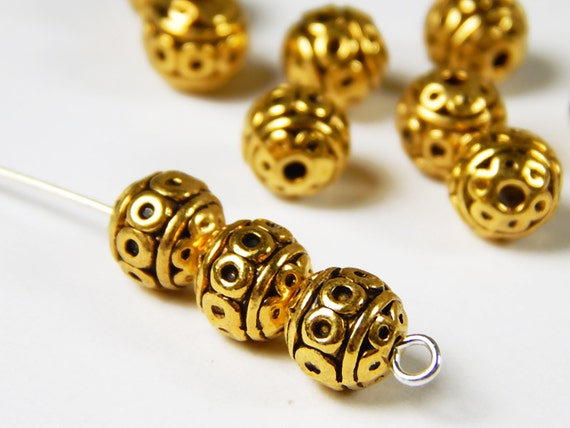 10 Pcs Round Spacer Beads Antique Silver Tone 8mm Beads Gold