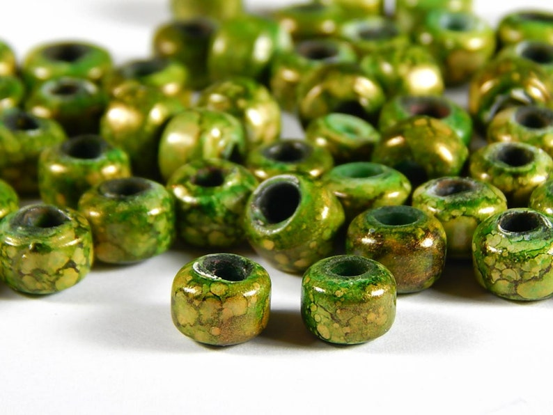 Crow Rollers 50 Pcs Glass Pony Beads 9x8mm Gold and Olive Green Marble Glass India Crow Beads Jewelry Supplies