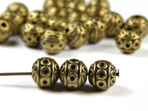 10 bronze big hole spacer beads