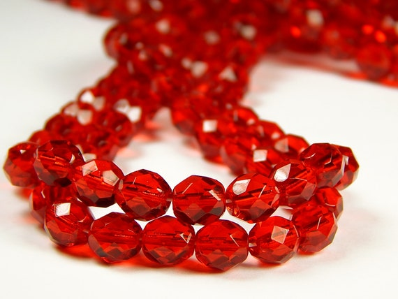 25 8mm Round Czech Glass Faceted Fire Polish Beads Ruby Red Transparent