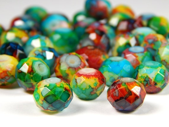 10Pcs Mixed Czech Rhinestones Jewelry Findings Loose Spacer Beads Craft 12x5mm
