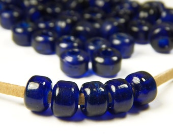 50 Pcs - 9x8mm Cobalt Blue Glass India Crow Beads - Crow Rollers - Glass Pony Beads - Jewelry Supplies - Dark Blue - Transparent
