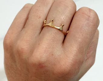 18K Gold Plated Crown Ring, Gold Tiara Ring, Queen King Princess Ring, Kingdom Royalty Ring, Throne Ring, Delicate Small Simple Ring (56)