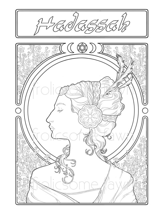 Queen Esther Adult Coloring Page Bible Coloring Page   Etsy