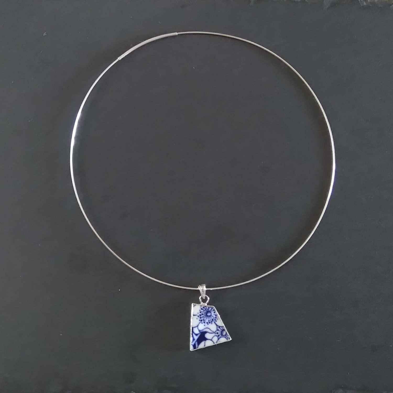 Minimale Halsband Chokerhalsketten blau Silber Halsband
