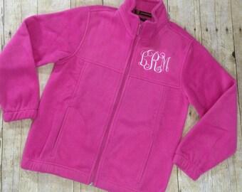 Monogram Girls Fleece Sweatshirt | Monogram Full Zip Jacket for Girls | Childrens Monogram Sweatshirt | Kids Monogram Sweater