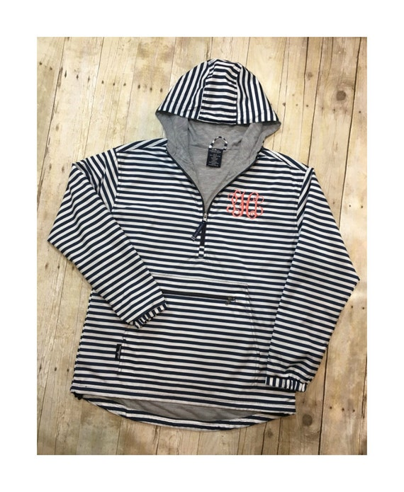 Monogrammed Navy and White Striped Women/'s Chatham Anorak Print By Charles River