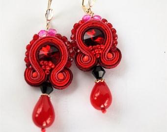 Red Dangle Earrings, Soutache Earrings,Handmade Earrings, Soutache Jewelry,Boho Soutache,  Earrings Dangle, Gift for Mother, Exclusive.