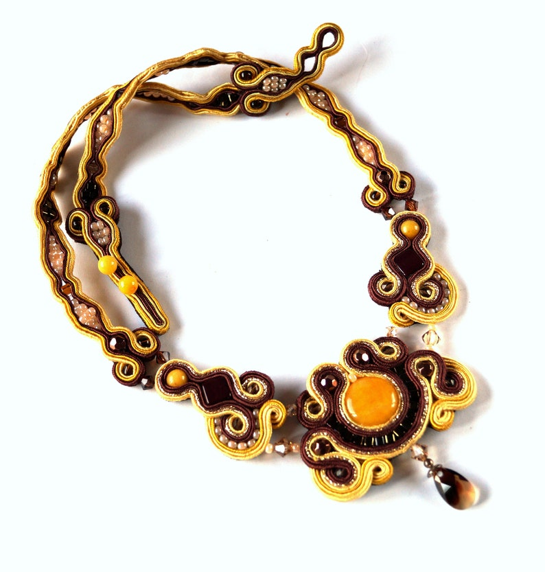 Brown /& yellow soutache necklace