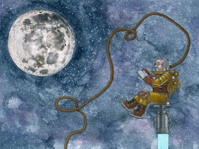 Two Universes limited edition steampunk Jules Verne print