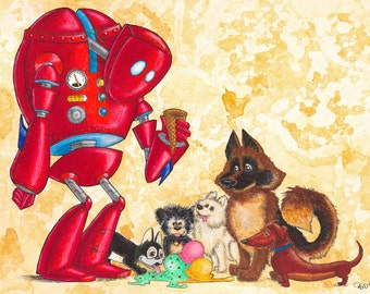 At Least Nizmo made the dogs happy limited edition Robot Print