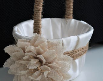 Rustic Wedding Basket \ Rustic Flower Girl Basket \ Burlap Wedding \ Burlap flower girl basket, Rustic Wedding Set, Rustic Basket Pillow set