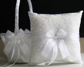 White Lace Bearer Pillow / White wedding basket / White Flower Girl Basket \ White wedding pillow \ Lace wedding basket \ Lace Ring Pillow
