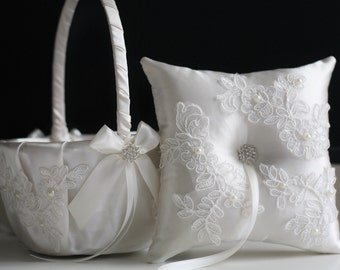 White wedding Basket / White Ring Bearer Pillow / White Lace Basket / White Lace Wedding Pillow / white Flower Girl Basket Pillow Set