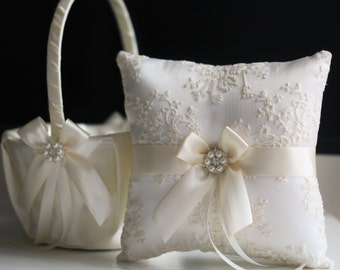 Ivory Ring Bearer Pillow, Ivory Wedding Basket Ivory Wedding Pillow Ivory Flower Girl Basket Pillow Set Lace Bearer Pillow Ivory Ring holder