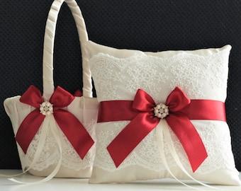 Flower Girl Basket / Apple Red Basket / Red Wedding Basket / Red Flower Girl Basket Pillow Set / Red Ring Bearer Pillow / Red ring Holder