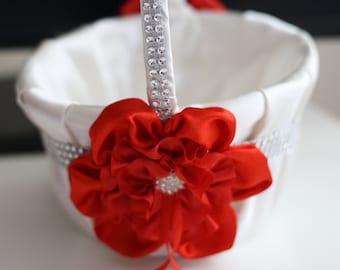 Red Wedding Baskets \ Red Flower Girl Basket \ Red Ring bearer Pillow \ Red Pillow Basket Set \ Red White Basket \ Red Petals Basket