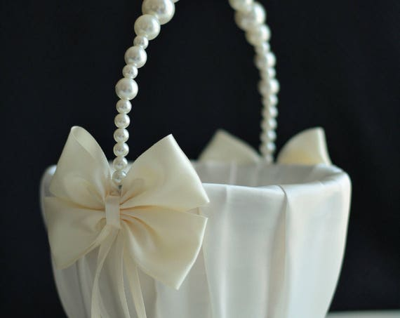 Alex emotions ivory pearl basket ivory flower girl basket pearl handle basket basket with pearls ivory izmirmasajfo
