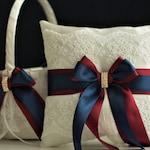 Navy Wedding Basket, Burgundy Bearer Pillow, Navy Flower Girl Basket, Navy Ring Bearer Pillow, Navy Ring Bearer, Burgundy Basket Pillow Set