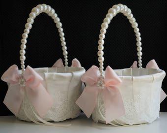Blush Flower Girl Basket / Blush pink basket / Pink wedding basket / Pearl handle basket / Pearl wedding basket / Lace wedding basket