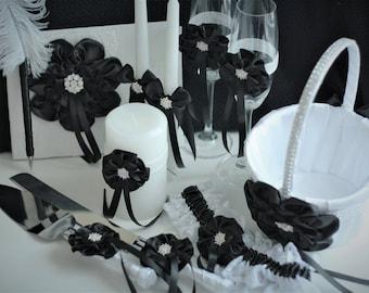 White Black Wedding / Black Flower Girl Basket / Black Ring Bearer Pillow / Black Guest Book / Black unity candles / Black Cake Serving Set