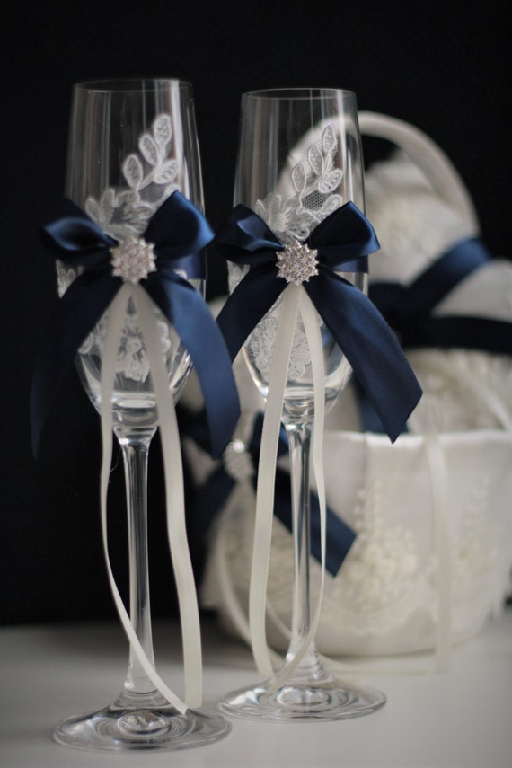 1 Toasting Flutes Navy Blue and Silver Wedding