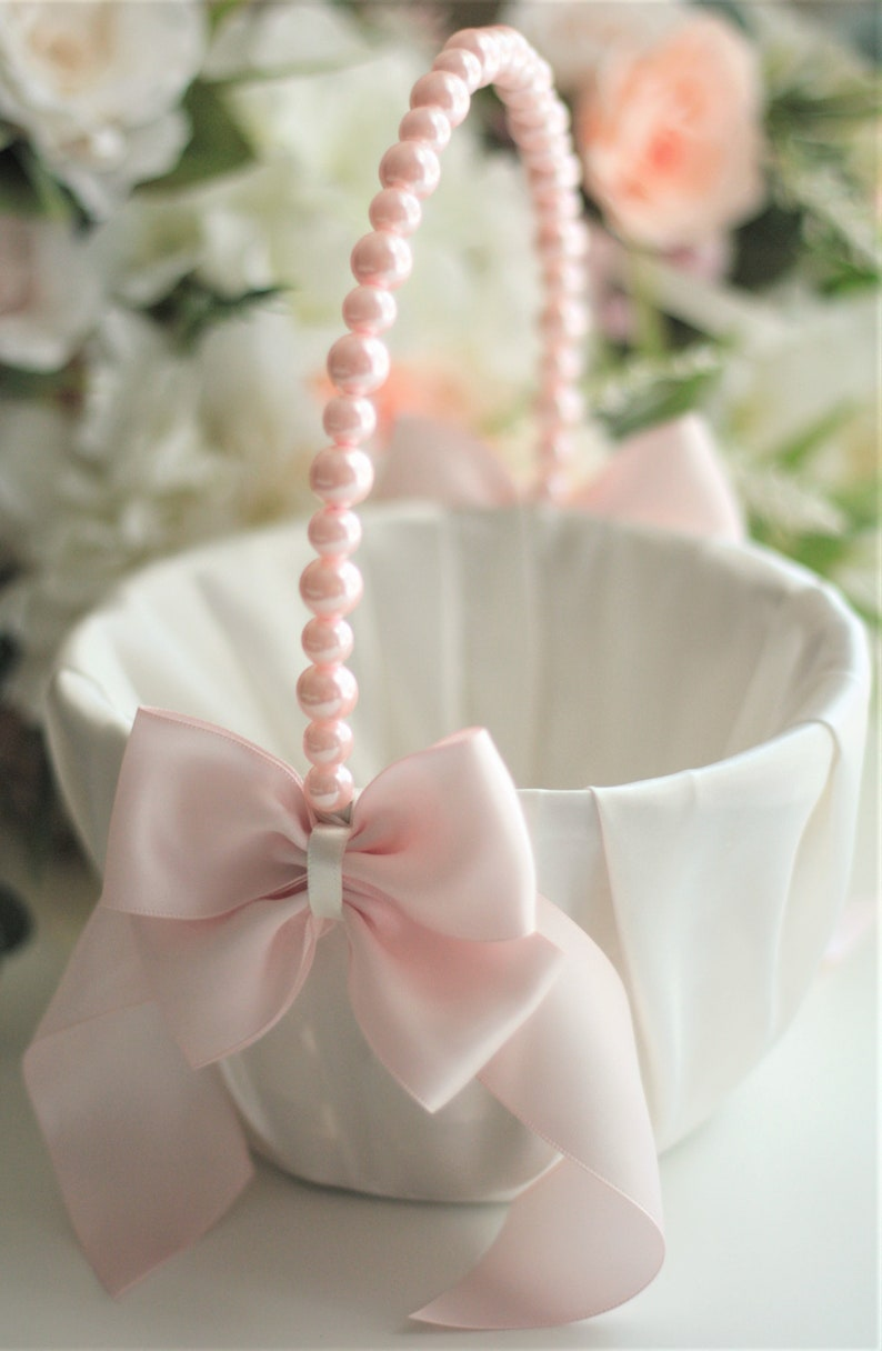 da01c5c5a5 Blush Flower girl Basket Pink Wedding basket Blush Flower