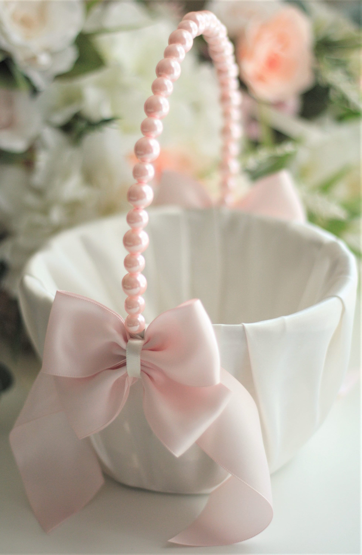 Blush Flower Girl Basket Pink Wedding Basket Blush Flower Basket For
