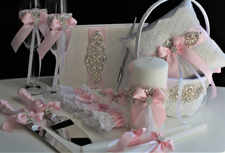 Pink Wedding Accessories Pink Flower Girl Basket Pink Ring Bearer