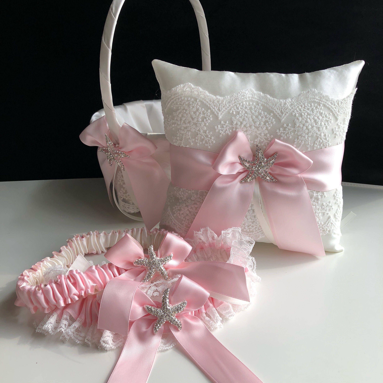 Starfish Ring Bearer Pink Flower Girl Basket Blush Wedding Pillow
