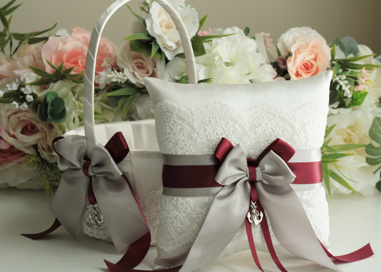 Gray Flower Girl Basket Gray Burgundy Wedding Basket Gray Ring