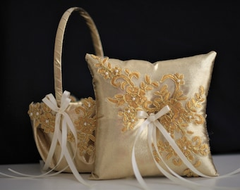 Gold Ring Bearer Pillow and Flower Girl Basket Set Lace Ring pillow Gold Ring Holder Gold wedding basket pillow set Lace Wedding pillow