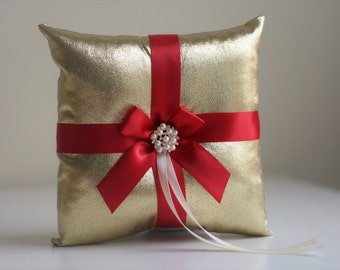 Red Ring Bearer Pillow Gold Ring Pillow Gold Ring Holder Red Gold Wedding Pillow Basket Set Gold Wedding Accessory Ceremony Pillow for Rings