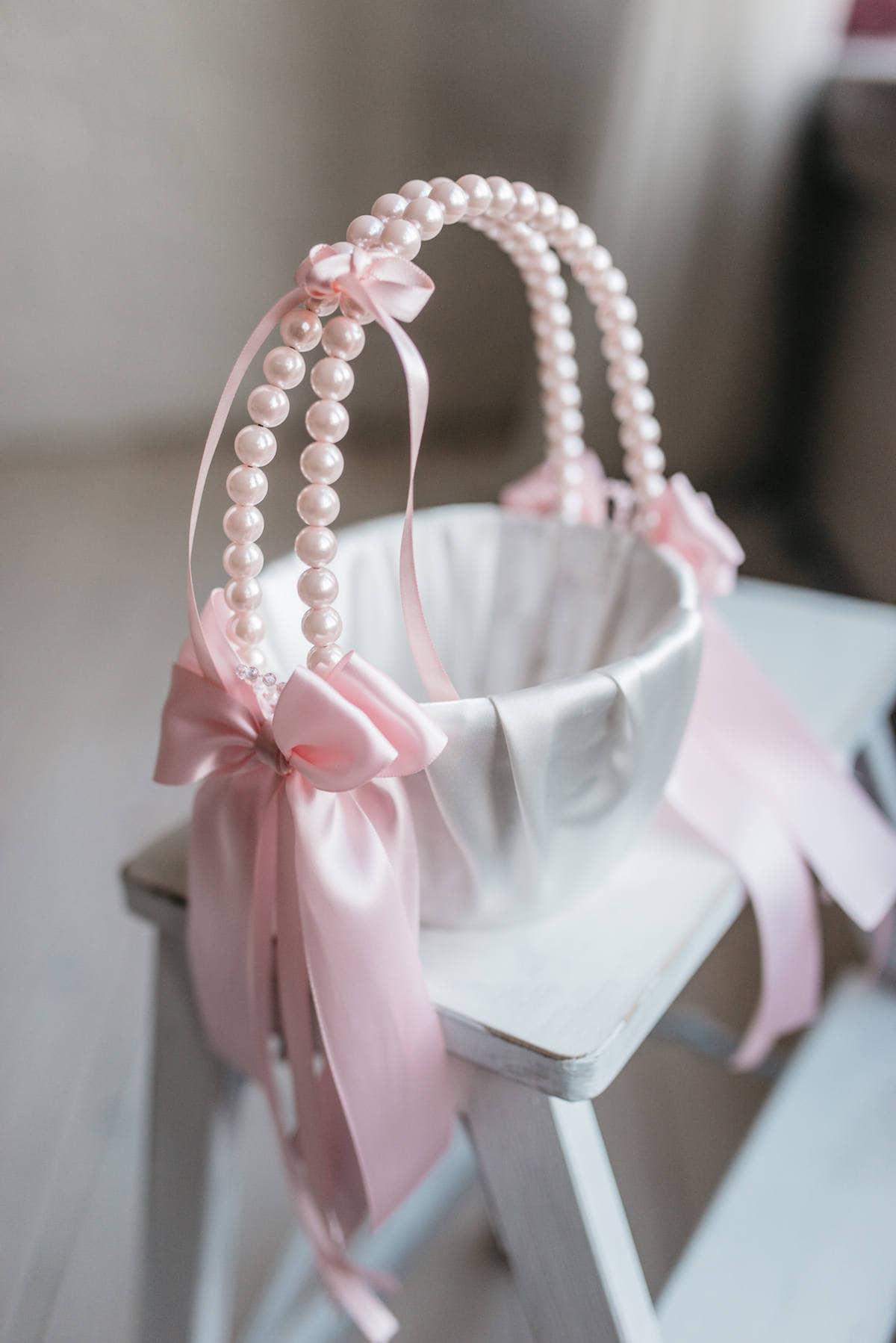 Pink flower girl basket pink wedding basket blush pink basket pink flower girl basket pink wedding basket blush pink basket pink ring bearer pillow pink ring holder pink wedding ring pillow izmirmasajfo
