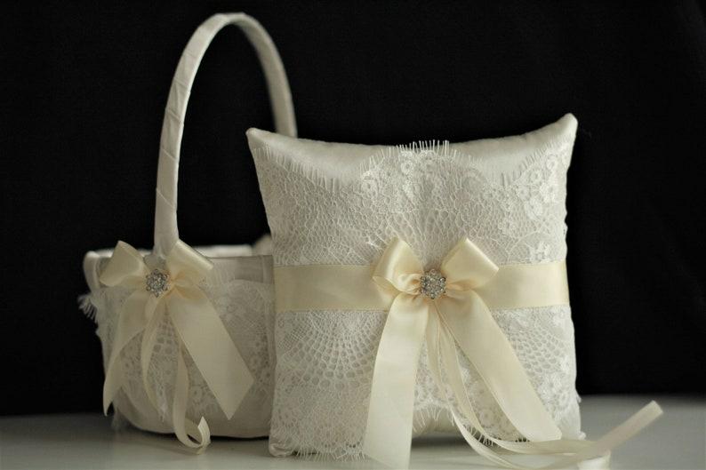 Ivory Flower Girl Baskets  Ivory Ring Bearer Pillows  Lace Ring Pillow  Ivory Wedding Basket  Ivory Wedding Pillow  Lace ringkissen