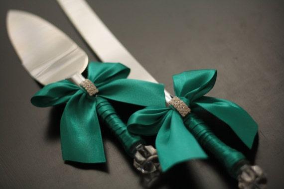 Emerald Wedding Cake Server Set Green Wedding Cake Cutting Etsy