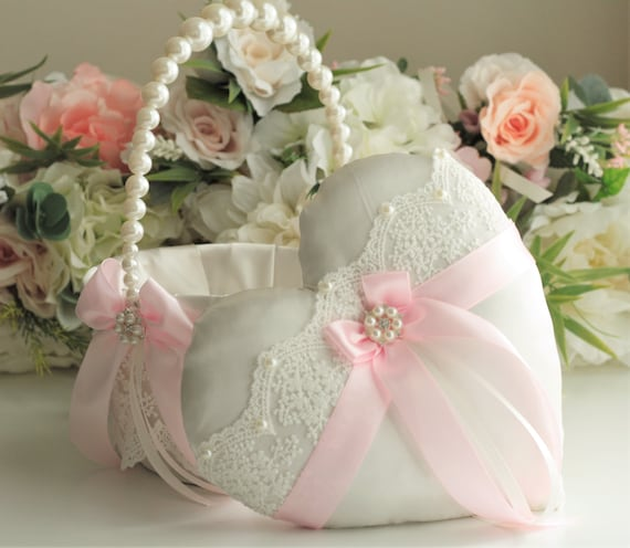 14d91dc152 Pearl Wedding Basket Blush Ring bearer Pillow Blush Flower