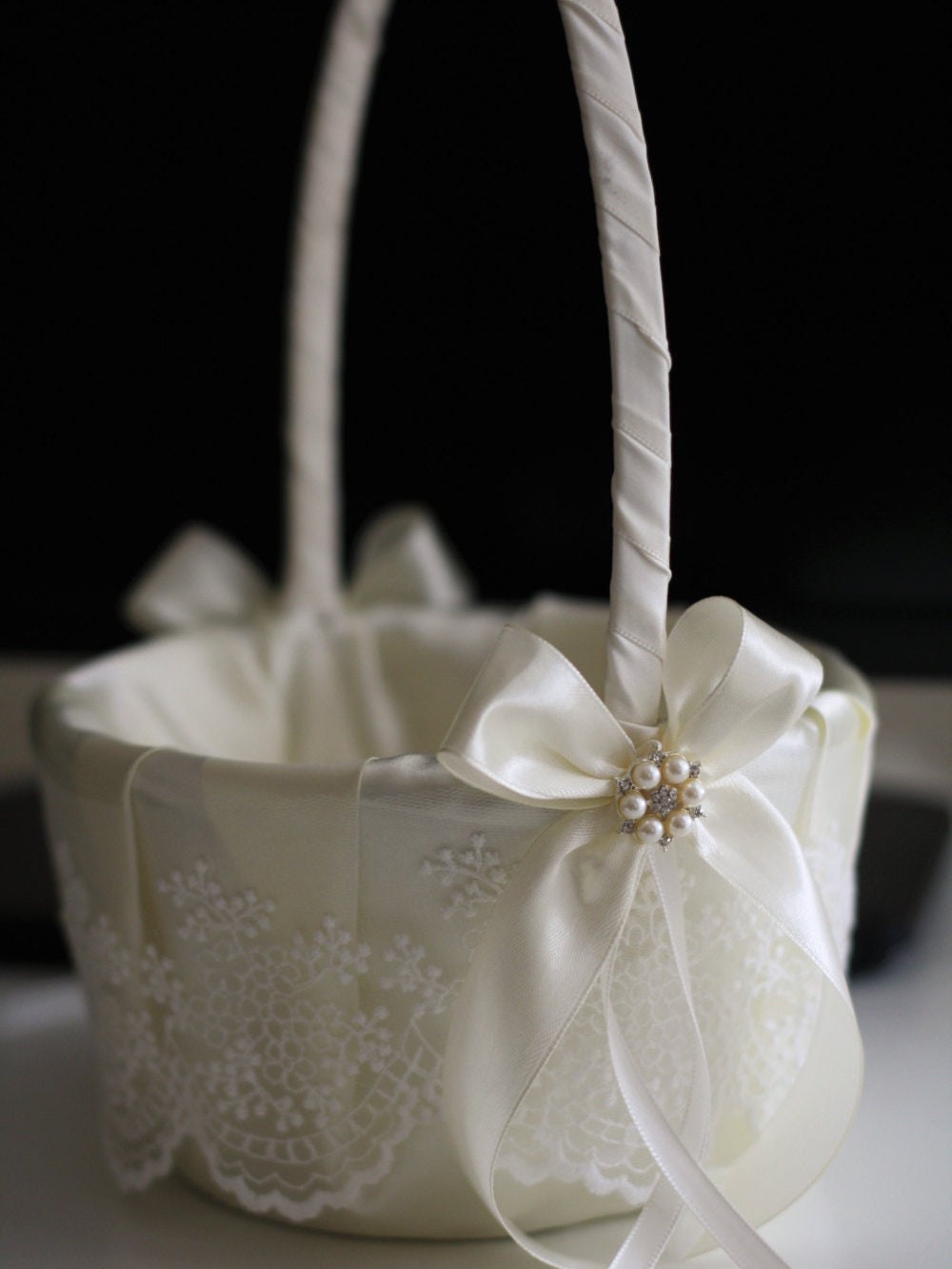 Flower girl basket ring bearer pillow ivory wedding basket etsy zoom izmirmasajfo