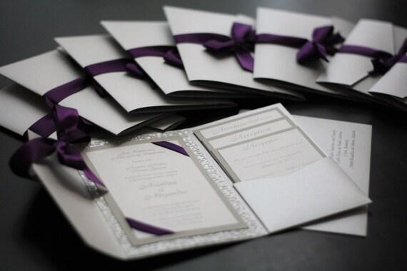 silver wedding invitation pocket fold invites metallic etsy